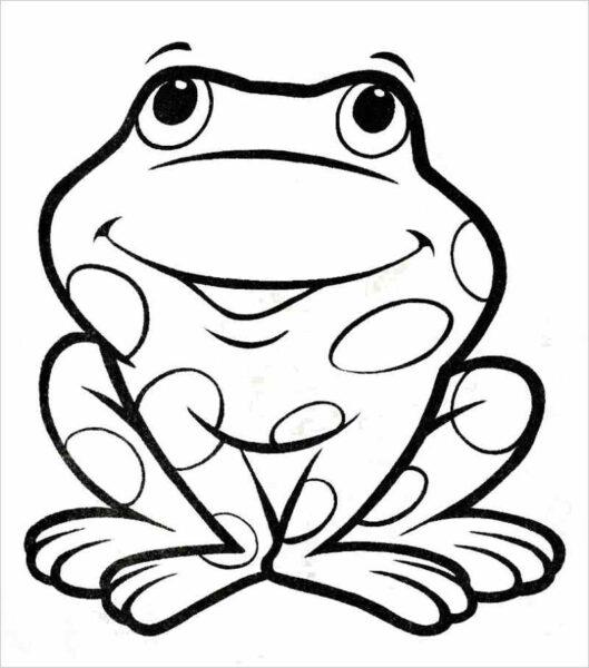 Hình vẽ chưa tô màu con ếch cho bé tập tô (3)