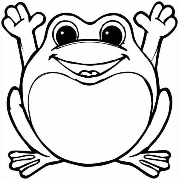 Hình vẽ chưa tô màu con ếch cho bé tập tô (5)