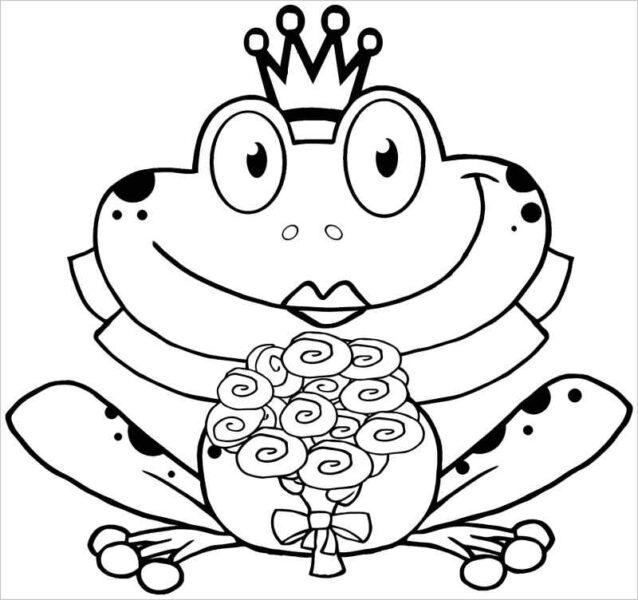 Hình vẽ chưa tô màu con ếch cho bé tập tô (6)