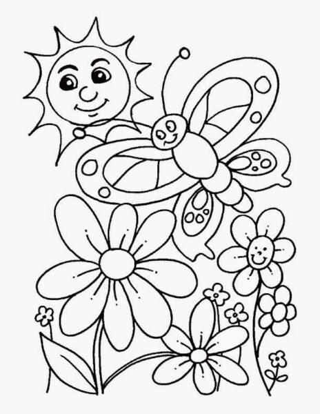 Hình vẽ chưa tô màu hoa hướng dương cho bé tập tô (2)
