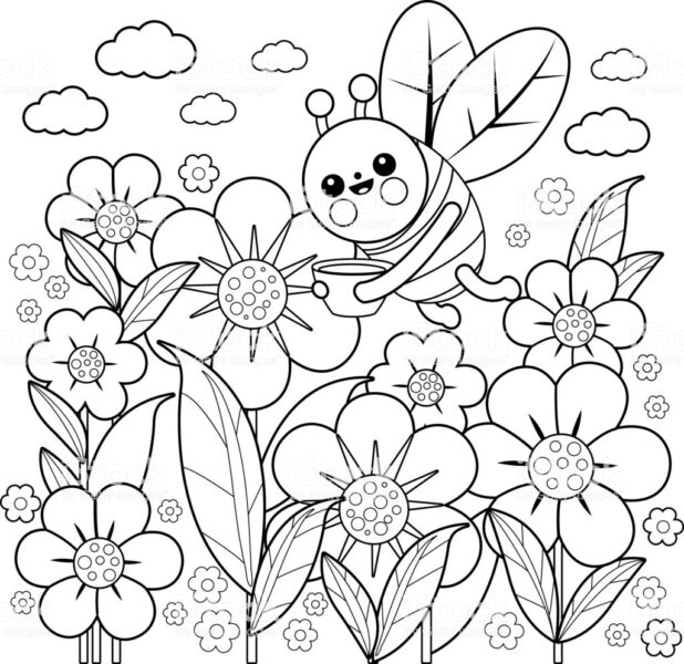 Hình vẽ chưa tô màu hoa hướng dương cho bé tập tô (4)