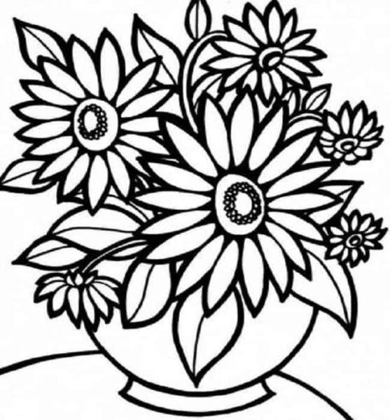 Hình vẽ chưa tô màu hoa hướng dương cho bé tập tô (6)