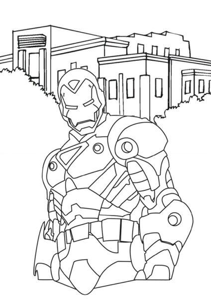 Hình vẽ chưa tô màu Iron Man ngầu nhất cho bé tập tô (2)