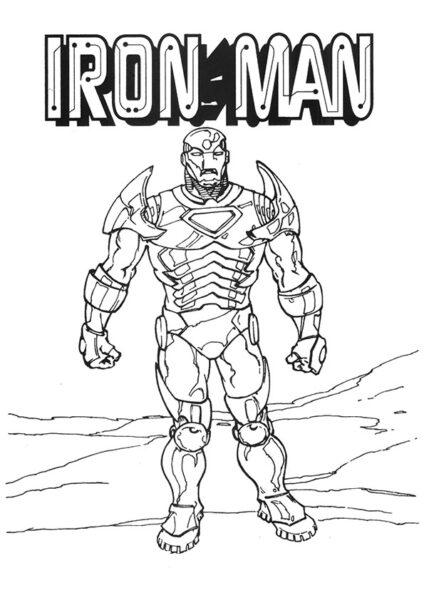 Hình vẽ chưa tô màu Iron Man ngầu nhất cho bé tập tô (3)