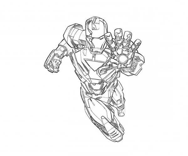 Hình vẽ chưa tô màu Iron Man ngầu nhất cho bé tập tô (5)