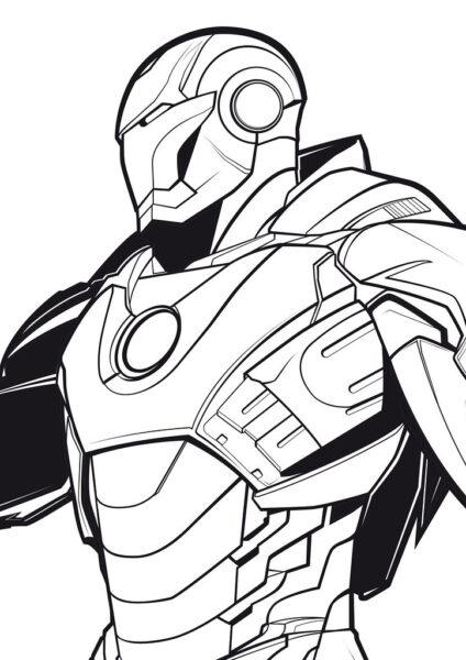 Hình vẽ chưa tô màu Iron Man ngầu nhất cho bé tập tô (6)