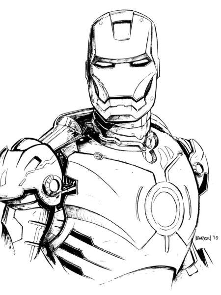 Hình vẽ chưa tô màu Iron Man ngầu nhất cho bé tập tô (7)