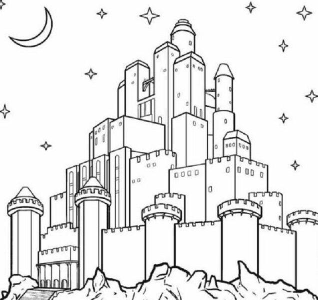 Hình vẽ chưa tô màu lâu đài đẹp nhất cho bé tập tô (1)