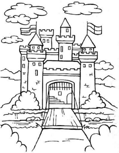Hình vẽ chưa tô màu lâu đài đẹp nhất cho bé tập tô (2)