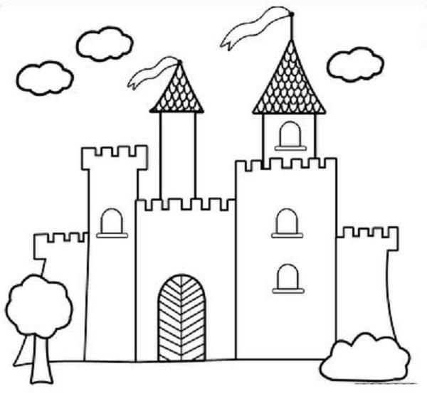 Hình vẽ chưa tô màu lâu đài đẹp nhất cho bé tập tô (3)