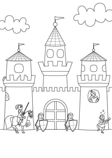 Hình vẽ chưa tô màu lâu đài đẹp nhất cho bé tập tô (4)