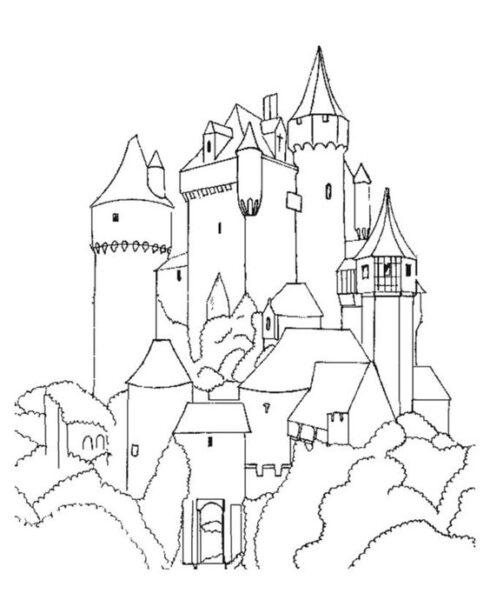 Hình vẽ chưa tô màu lâu đài đẹp nhất cho bé tập tô (5)