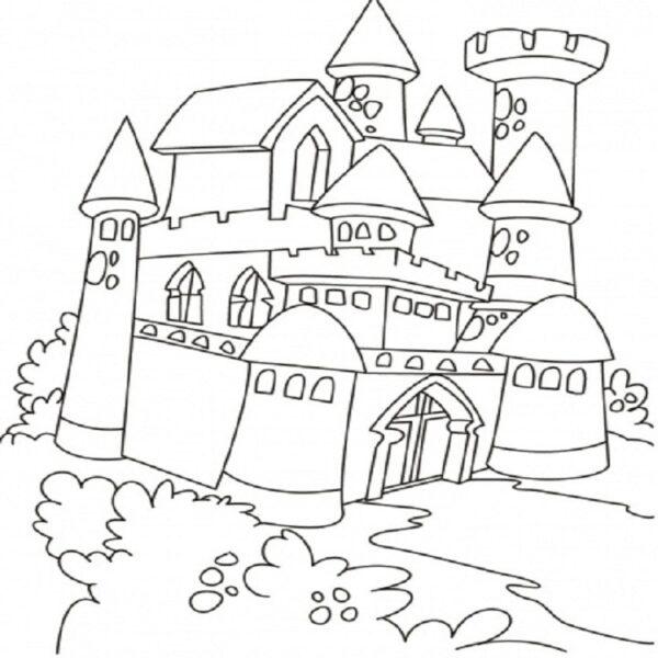Hình vẽ chưa tô màu lâu đài đẹp nhất cho bé tập tô (7)