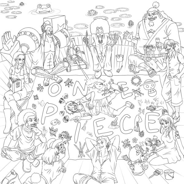 Hình vẽ chưa tô màu One Piece cho bé tập tô (2)