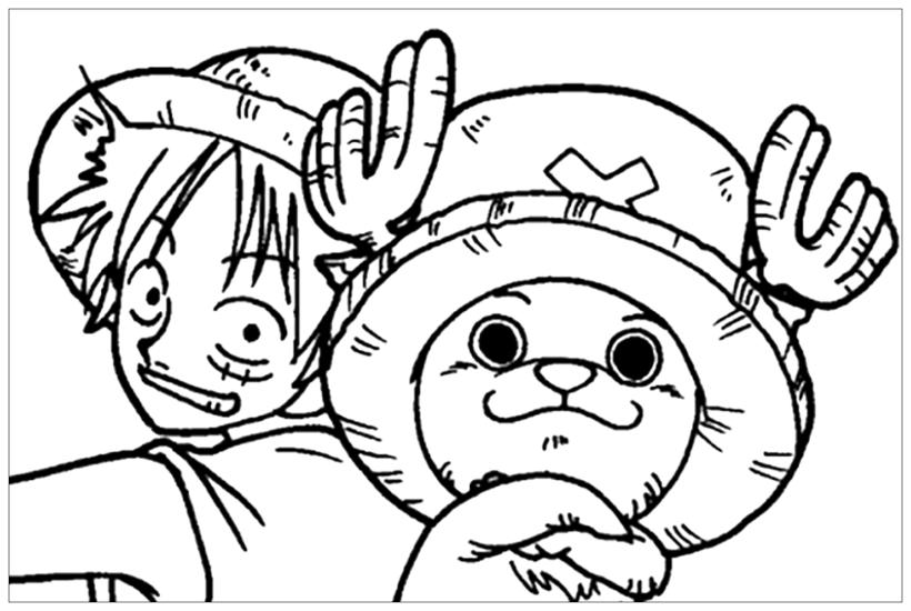 Hình vẽ chưa tô màu One Piece cho bé tập tô (4)
