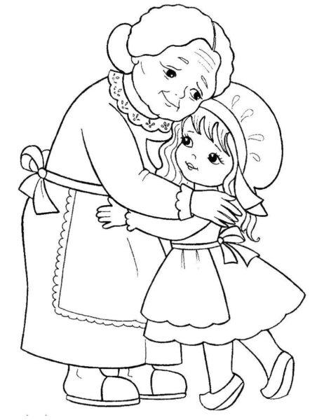 Hình vẽ chưa tô màu ông bà đẹp nhất cho bé tập tô (2)