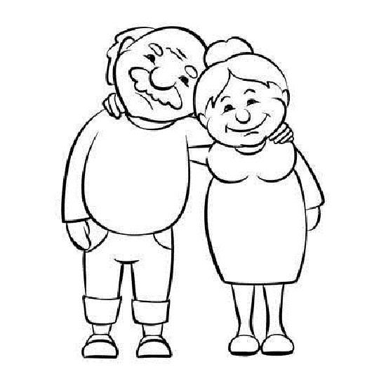 Hình vẽ chưa tô màu ông bà đẹp nhất cho bé tập tô (3)