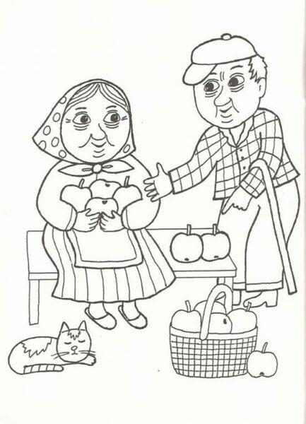 Hình vẽ chưa tô màu ông bà đẹp nhất cho bé tập tô (7)