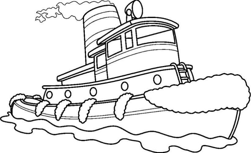 Hình vẽ chưa tô màu tàu thuỷ cho bé tập tô (1)