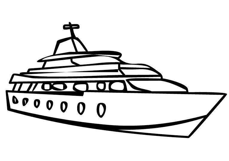 Hình vẽ chưa tô màu tàu thuỷ cho bé tập tô (2)
