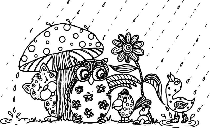 Hình vẽ chưa tô màu trời mưa cho bé tập tô (1)