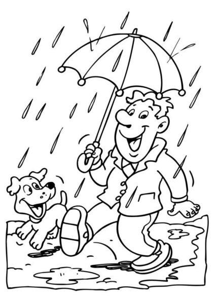 Hình vẽ chưa tô màu trời mưa cho bé tập tô (2)