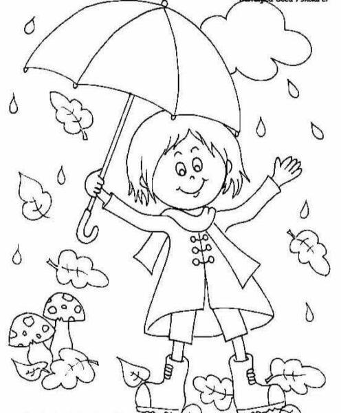 Hình vẽ chưa tô màu trời mưa cho bé tập tô (3)