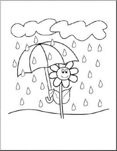 Hình vẽ chưa tô màu trời mưa cho bé tập tô (4)