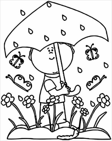 Hình vẽ chưa tô màu trời mưa cho bé tập tô (5)