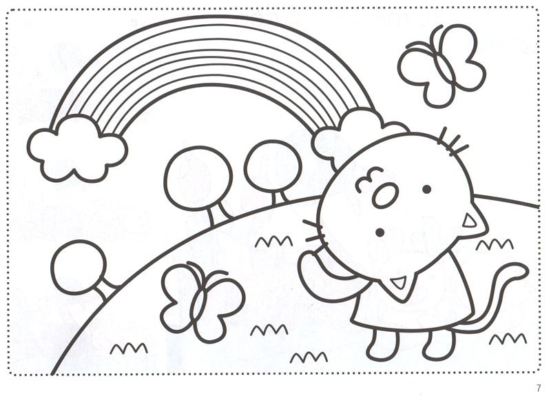Hình vẽ đen trắng cầu vồng đẹp cho bé tô màu (1)