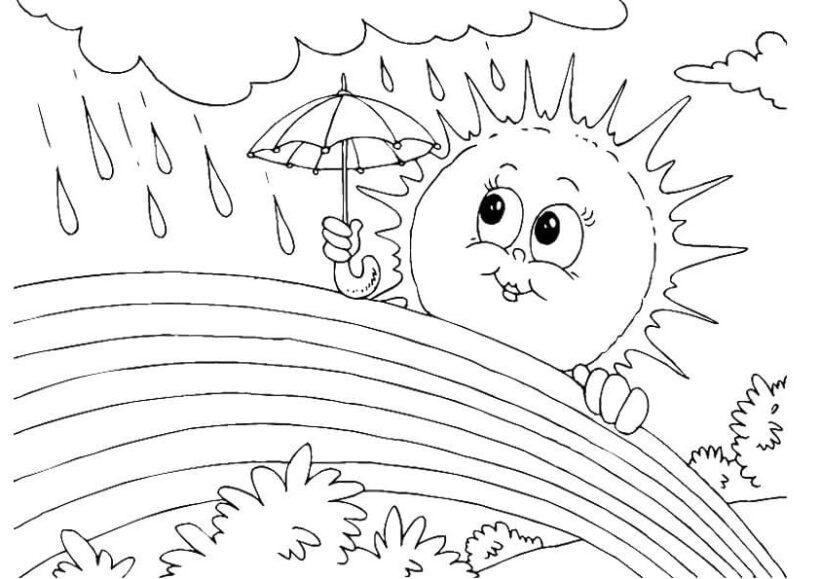 Hình vẽ đen trắng cầu vồng đẹp cho bé tô màu (3)