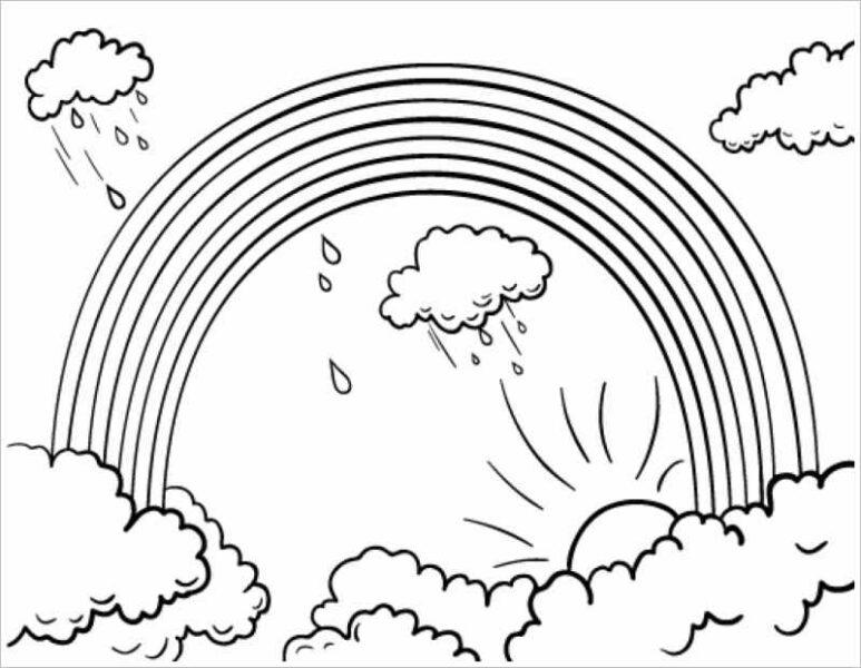 Hình vẽ đen trắng cầu vồng đẹp cho bé tô màu (4)