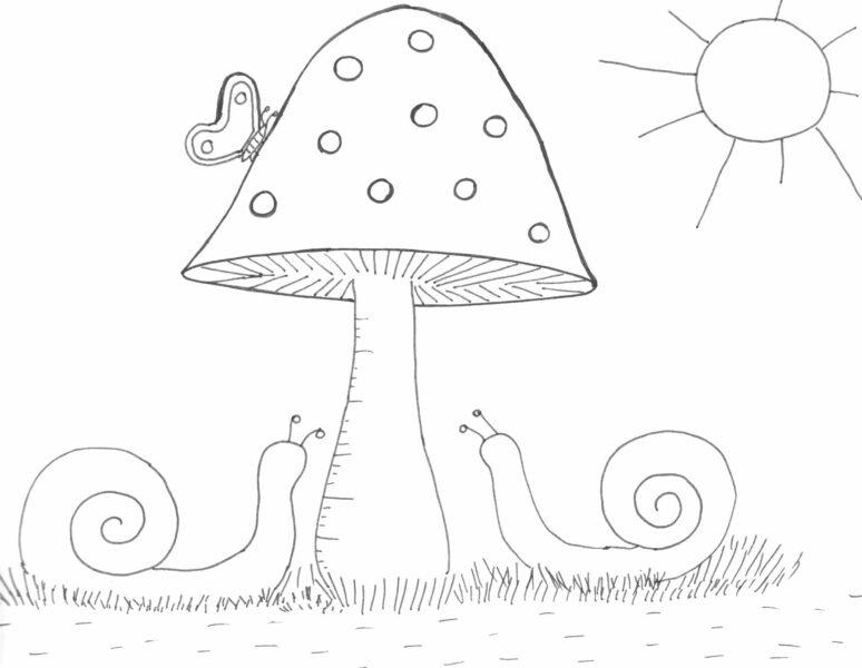 Printable gomba pillang³ és csigák rajz drawing mushroom snail and