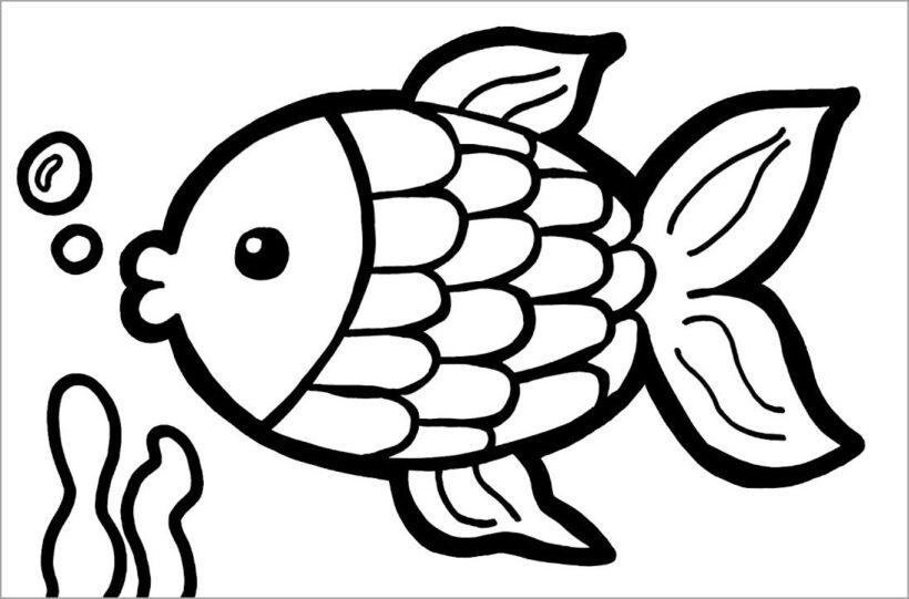 Hình vẽ đen trắng chú cá vàng cho bé tô màu (4)