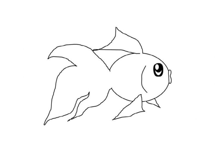 Hình vẽ đen trắng chú cá vàng cho bé tô màu (5)