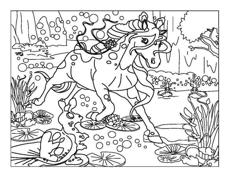 Hình vẽ đen trắng con ngựa dễ thương cho bé tô màu (3)