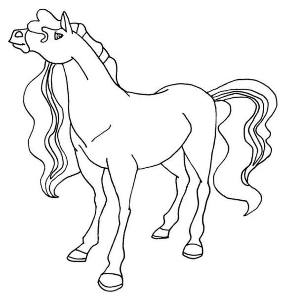 Hình vẽ đen trắng con ngựa dễ thương cho bé tô màu (4)
