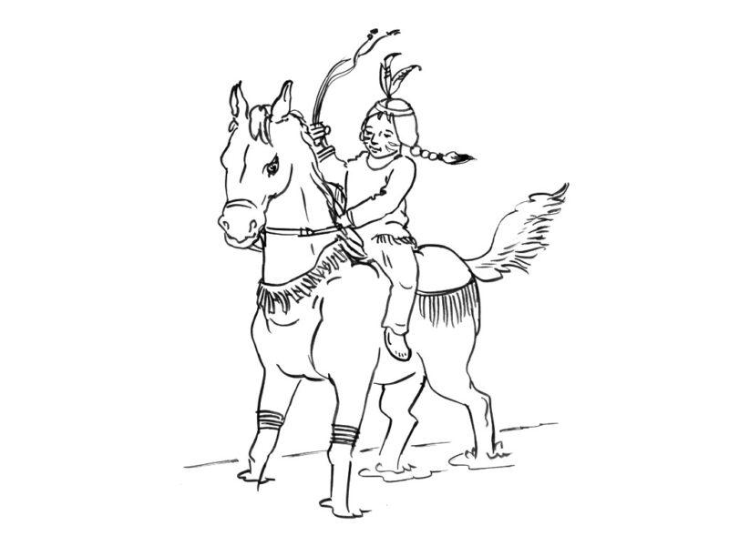 Hình vẽ đen trắng con ngựa dễ thương cho bé tô màu (6)