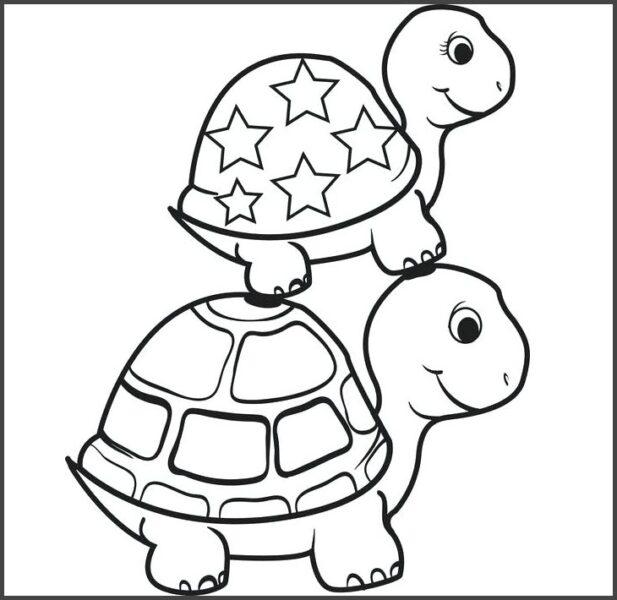 Hình vẽ đen trắng con rùa đẹp cho bé tô màu (2)
