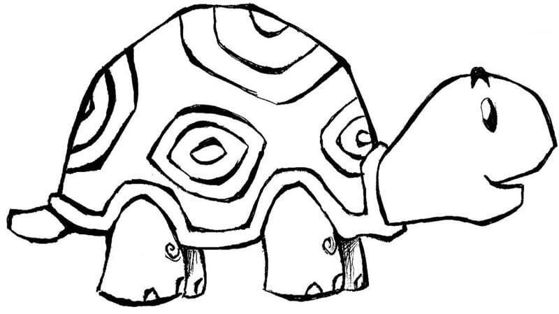 Hình vẽ đen trắng con rùa đẹp cho bé tô màu (4)