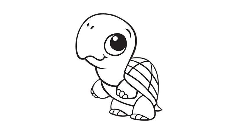 Hình vẽ đen trắng con rùa đẹp cho bé tô màu (5)