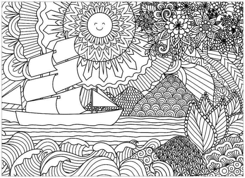Hình vẽ đen trắng phong cảnh biển cho bé tô màu (1)