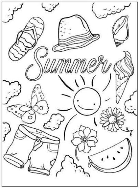 Hình vẽ đen trắng phong cảnh biển cho bé tô màu (3)