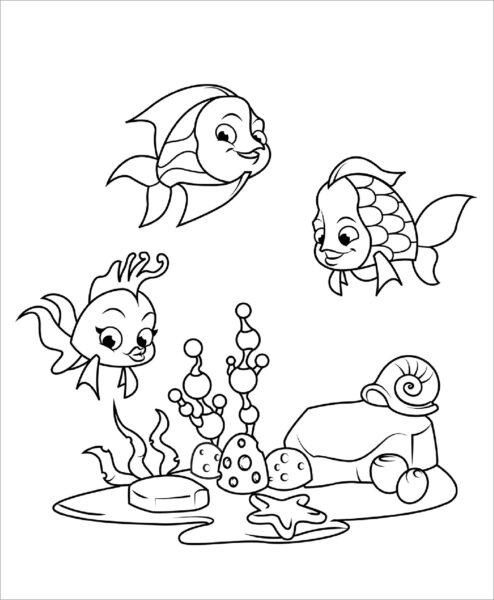 Hình vẽ đen trắng phong cảnh biển cho bé tô màu (4)