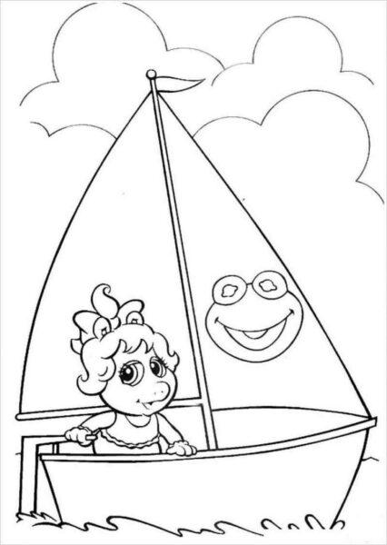 Hình vẽ đen trắng phong cảnh biển cho bé tô màu (5)