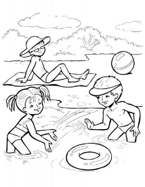 Hình vẽ đen trắng phong cảnh biển cho bé tô màu (6)