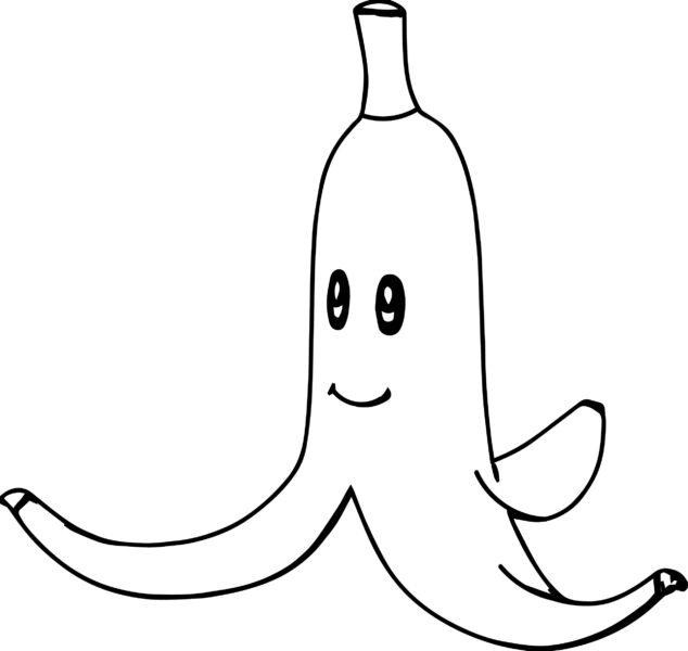 Hình vẽ đen trắng quả chuối cho bé tô màu (5)