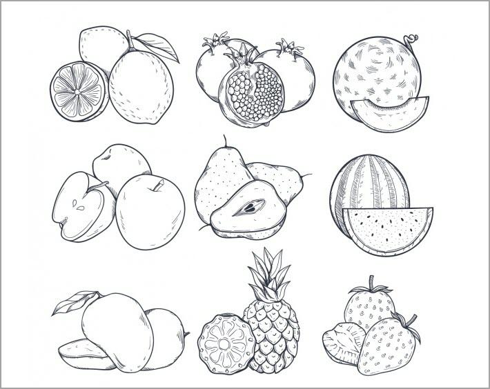 Hình vẽ đen trắng quả dưa hấu cho bé tập tô (2)