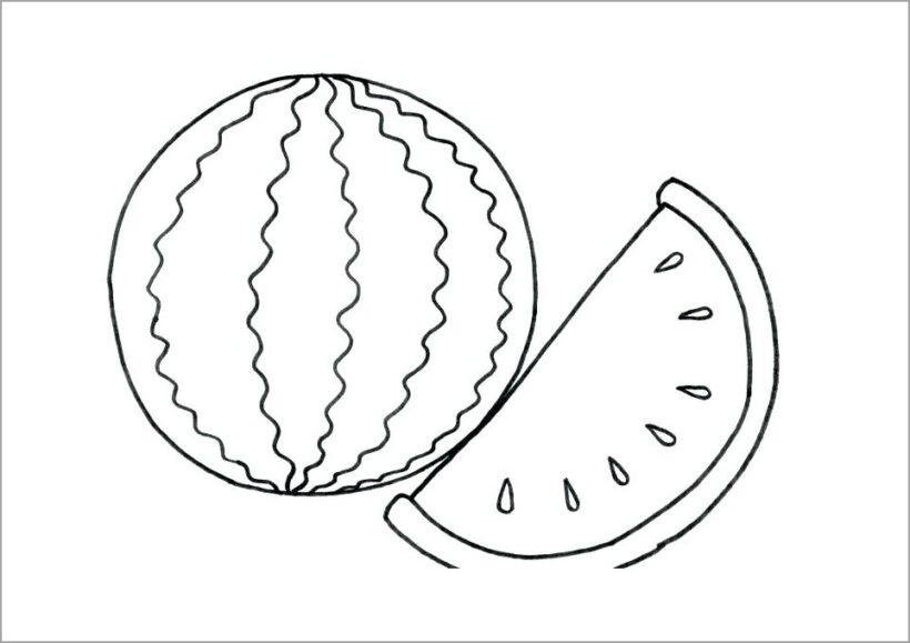 Hình vẽ đen trắng quả dưa hấu cho bé tập tô (3)