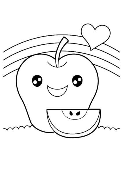Hình vẽ đen trắng quả táo cho bé tô màu (1)